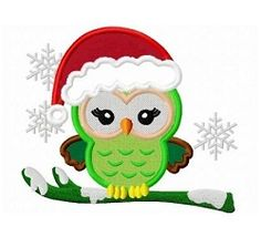 Girly Christmas Owl Applique - 3 Sizes! | What's New | Machine Embroidery Designs | SWAKembroidery.com Dollar Applique