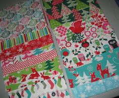 christmas fabrics - fun retro fabric with blue red white deer