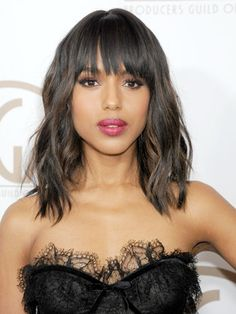 This #DjangoUnchained star's long bob and bang combo is an awesome blend of pretty and playful. #KerryWashington