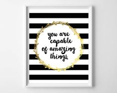 Black Stripes and Gold Kate Spade Inspirational by paperandpalette