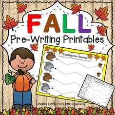 Help your students develop fine motor skills and eye-hand coordination with Fall Pre-Writing Printables.  There are eight pages in color and black and white which include horizontal, vertical, and wavy, dotted lines with an autumn theme for children to trace.