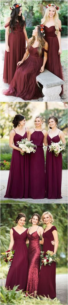 Off the shoulder burgundy  bridesmaid dresses#weddings #dresses #weddingideas #bridesmaids ❤️ http://www.deerpearlflowers.com/bridesmaid-dress-trends-for-2018/