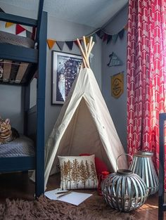 kids shared room with bunks // Before & After: A Cute Camping-Themed Kids Bedroom — Professional Project | Apartment Therapy
