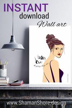 Fashion Illustration Poster Art, Messy Bun Art Print Digital Download, Wall Art Girl Fashion, Décor Maison, Impression de mode Téléchargement, Illustrazione di moda, Arte della parete moderna poster, Stampa di moda