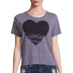 SUNDRY Static Heart Graphic Tee ($86) ❤ liked on Polyvore featuring tops, t-shirts, apparel & accessories, heather grey, short sleeve tops, heart tops, heart tee, graphic tops and short sleeve graphic tees