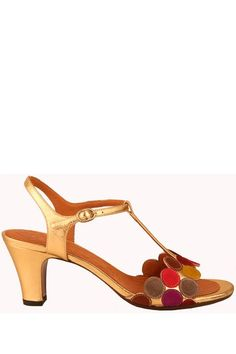 Chie Mihara Quory t-strap sandal, multi-color and gold leather