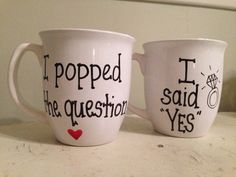 His and hers engagement mugs by simplymadegreetings on Etsy, $22.00