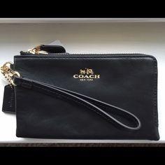 """Coach Double Corner Zip Phone Case Wristlet NWT Coach Smooth Leather Double Corner Zip Phone Case Wristlet NWT~Color Black/Gold hardware~6"""" L X 4"""" H X 1"""" H Coach Bags Clutches & Wristlets"""