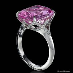 'Imperial Topaz' ring - up close view of this rare pink Russian topaz set in the elegantly soft geometry of a platinum and diamond setting Imperial Topaz, High Jewelry, Jewellery, Vintage Diamond Rings, Diamond Settings, Topaz Ring, Gemstone Colors, Geometry, Gemstone Jewelry
