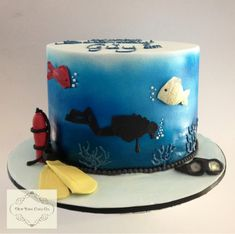 Scuba diving themed cake