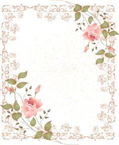 Frames with pink flowers Papel Vintage, Vintage Diy, Vintage Paper, Vintage Flowers, Pink Flowers, Pink Roses, Rose Frame, Flower Frame, Scrapbook Cards