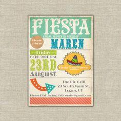 Printable Fiesta invitation cinco de mayo, bridal baby shower, birthday. $20.00, via Etsy.