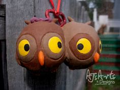 OOAK Owls in Love Ornament by ajsarts on Etsy, $30.00