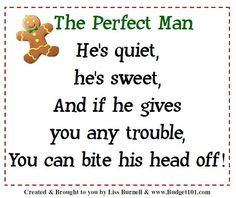GingerBread Man Gift Idea aka the Perfect Man gag gift idea to present with gingerbread cookies for a fast, inexpensive holiday gift, includes printable gift tags