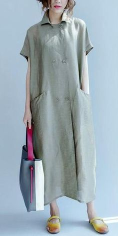 SILK LINEN LONG DRESS WIND COAT Q3102