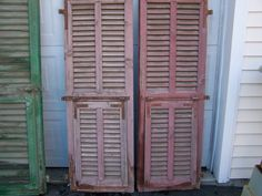Your place to buy and sell all things handmade Architectural Salvage, Architectural Elements, Old Shutters, Shutter Doors, Red Paint, Decorative Items, Tall Cabinet Storage, Home And Garden, Wall Decor