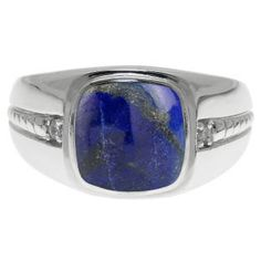 Cushion-Cut Lapis Gemstone and Diamond Men's Ring In White Gold Available Exclusively at Gemologica.com