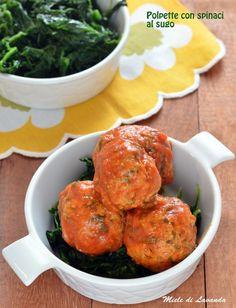 Polpette con spinaci al sugo