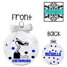 custom swim team christmas ornament, Swim Coach Gift, Swim Team ...