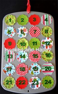 Mini Muffin Tin Advent Calendar via hookedandhappy.com #christmas
