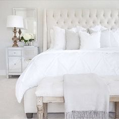 This is a Bedroom Interior Design Ideas. House is a private bedroom and is usually hidden from our guests. However, it is important to her, not only for comfort but also style. Much of our bedroom … White Headboard, White Bedding, All White Bedroom, White Bedrooms, Bedding Sets, White Bed Linens, Apholstered Headboard, Cream And Grey Bedroom, Gray Upholstered Headboard