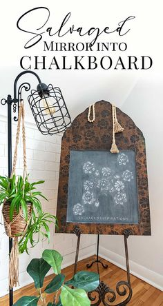 Salvaged Mirror Into Chalkboard - Salvaged Inspirations Chalkboard Mirror, Chalkboard Paint, Mirror Video, Wood Appliques, Mirror Makeover, Happy Paintings, Old Frames, Trash To Treasure, Mineral Paint