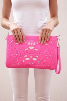 2hrts:  Neon Pink Cut Out Clutch on We Heart It - http://weheartit.com/entry/53716794/via/sommerkreis