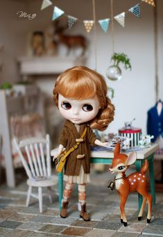 Miss yo hand-knitted winter Long sweater coat for Blythe doll - doll outfit - Brown