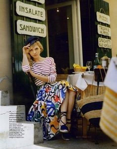 """Clemence Poesy, red striped top, patterned long skirt, hat, cafe"" I remember this article :) Parisienne Chic, Clemence Poesie, Italy Fashion, Women's Fashion, Fashion Editorials, Ladies Fashion, Fashion Ideas, Fashion Outfits, Fashion Trends"
