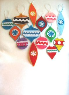 Rikrak's retro Christmas ornaments, made from recycled felt.