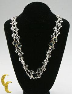 """David Yurman Sterling Silver & 18k Yellow Gold Logo Color Chain Necklace 46"""" #DavidYurman #Chain"""