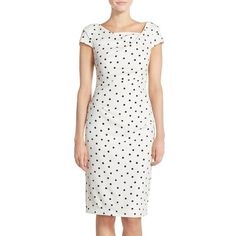 Adrianna Papell Polka Dot Crepe Sheath Dress ($120) ❤ liked on Polyvore featuring dresses, square neck dress, white ruched dress, crepe sheath dress, cap sleeve dress and white polka dot dress