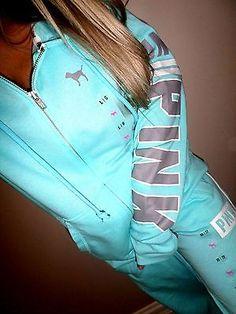 Pink by Victoria's Secret BOYFRIEND FIT aqua blue graphics sweat pants nwt Large