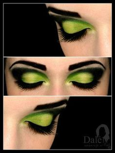 Lime Green with Black Dramatic Eye Makeup