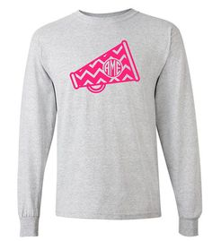 Chevron Monogram Cheer Megaphone Long Sleeve Shirt by VinylDezignz