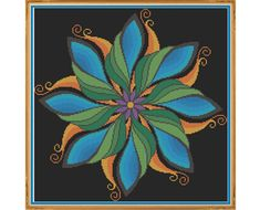 Mandala 2 - Harmony - Counted Cross Stitch by HornswoggleStore, $5.00 (geometric, colorful, yoga, zen, rainbow, abstract, medallion)