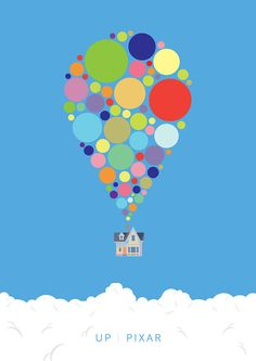 film poster design Minimalist design of Pixar's UP movie depicting the famous scene of the balloons lifting the house in to the sky. The design is done in vector form. The artwork is Disney Up, Disney Pixar, Disney Movie Posters, Movie Poster Art, Film Posters, Minimalist Poster Design, Up Pixar, Film Poster Design, Bullet Journal Inspiration