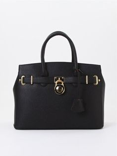 Beautiful Black Satchel w/Gold-Tone Lock Accent! #Unbranded #Satchel