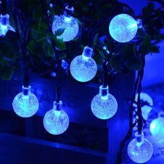Solar Outdoor String Lights Blue Crystal Ball Solar Powered Globe Fairy  Lights For Garden Fence Path