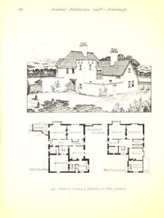 Cottage Floor Plans, House Floor Plans, Architectural House Plans, Vintage House Plans, Medieval Houses, Farm Cottage, Traditional Homes, Witch House, Courtyards