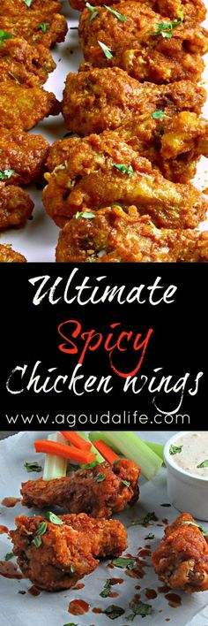 Ultimate Spicy Chicken Wings: light, crispy breading, unique hot/tangy sauce for a flavor that keeps 'em coming back for more. Spicy Wings, Chicken Wings Spicy, Chicken Wing Recipes, Tandoori Chicken, Grilled Chicken, Taco Pie, Appetizers For Party, Appetizer Recipes, Savoury Recipes