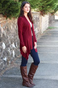 Basic, Ribbed Waterfall Cardigan {Burgundy} - The Fair Lady Boutique - 1