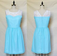 LORRAINE (Sky) : Sky blue chiffon dress, white lace sweetheart neckline, color block, vintage inspired, party, day, bridesmaid