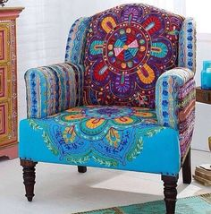 A very ordinary chair is transformed into a colorful Boho statement with careful choice of fabrics.