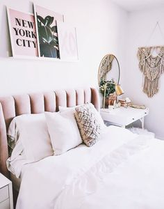 blush, bedroom, design, home decor Shabby Chic Bedrooms On A Budget, Shabby Chic Guest Room, Dream Rooms, Dream Bedroom, Home Bedroom, Bedroom Ideas, Blush Bedroom, Master Bedroom, Home Design