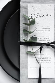 So love this white menu placed on gray napkin wedding table settings with greenery, wedding tableware, The Effective Pictures We Offer You About wedding table decorations romantic A quality picture ca Trendy Wedding, Diy Wedding, Dream Wedding, Modern Wedding Ideas, Black Wedding Decor, Modern Wedding Decorations, Wedding Parties, Modern Wedding Reception, Wedding Foods