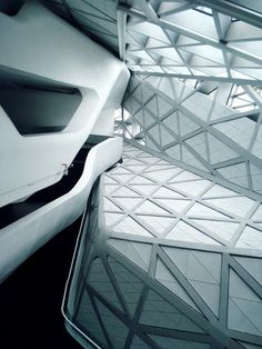 Guangzhou Opera House by Zaha Hadid. Her projects inspire us to push the boundaries of tile and mosaic shapes. Zaha Hadid Architects, Arquitetos Zaha Hadid, Modern House Design, Modern Interior Design, Home Design, Parametric Design, Space Architecture, Amazing Architecture, Interiores Design