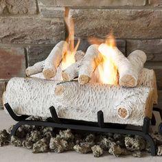 birch gas log set | ... logs wood logs coal oak cone fire shapes fireplace gas 75 birch gas