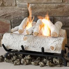 birch gas log set | ... logs wood logs coal oak cone fire shapes fireplace gas 75 birch gas