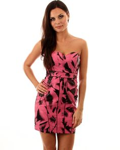 Black and Pink Fitted Patterned Strapless Cocktail Dress